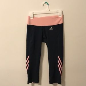Adidas black and coral capris Women's Small